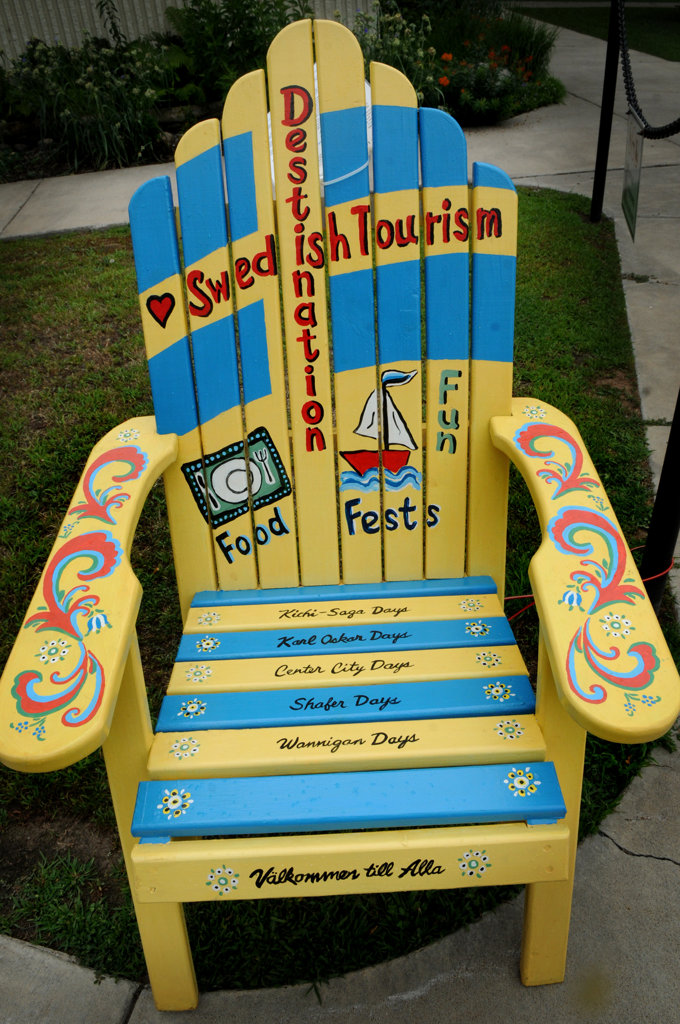 ". ""Swedish Destiny\"" chair painted by Sally Barott is part of the Highway 8 Chairs project.  (Pioneer Press: Jean Pieri)"