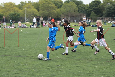 BROOKLYN - SEPTEMBER 26: The Brooklyn Italians soccer academy first all girls team game at Dyker Beach Park on Sunday, September 26, 2010 in Brooklyn, NY.