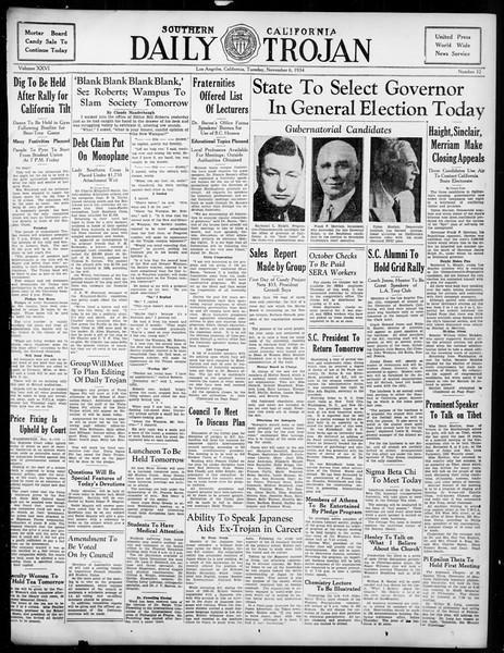Daily Trojan, Vol. 26, No. 32, November 06, 1934