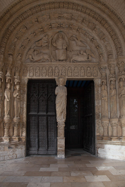 Bourges Cathedral South Porch Portal, Christ and The Symbols of the Evangelists