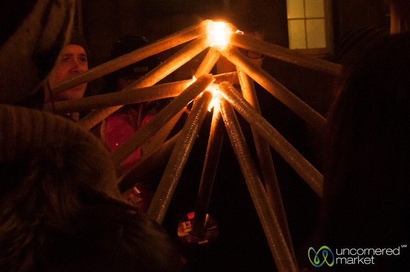 Lighting the Torches for Edinburgh's Torchlight Procession