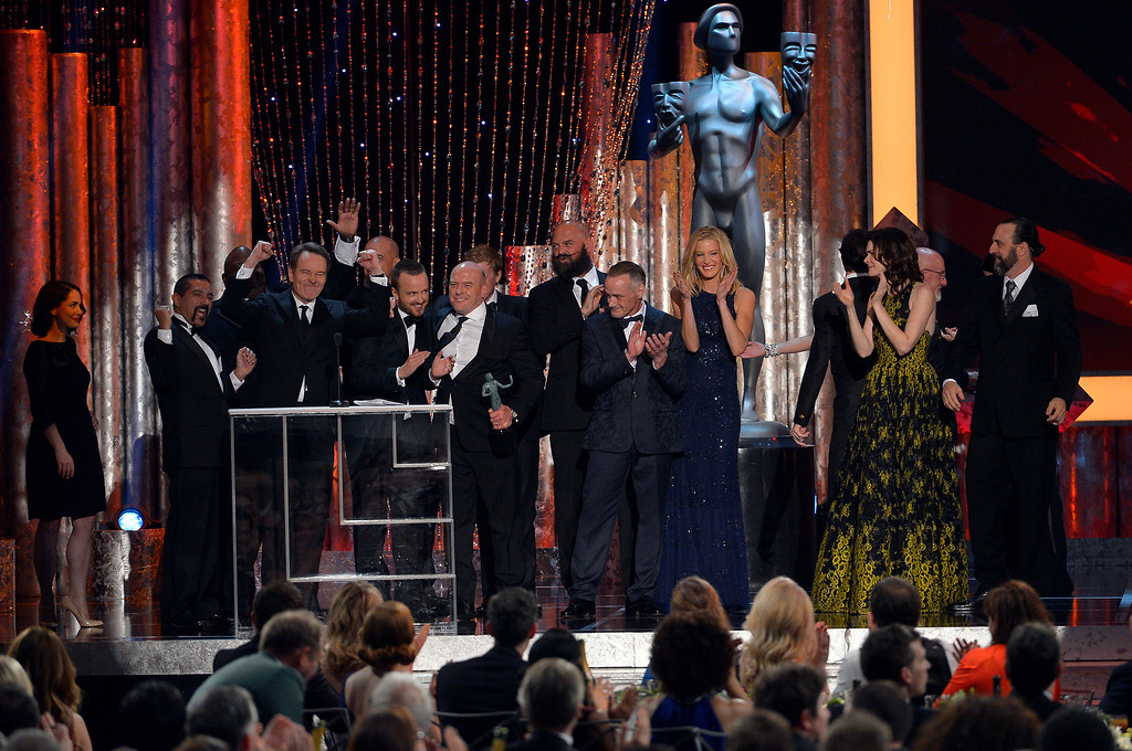 . The cast of \'Breaking Bad\' accepts Outstanding Performance by an Ensemble in a Drama Series during the show of the 20th Annual Screen Actors Guild Awards  at the Shrine Auditorium in Los Angeles, California on Saturday January 18, 2014 (Photo by Andy Holzman / Los Angeles Daily News)