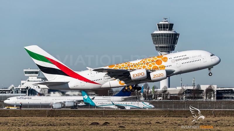 Emirates / A380-861 / A6-EEA / Orange Expo Liveryat MUC