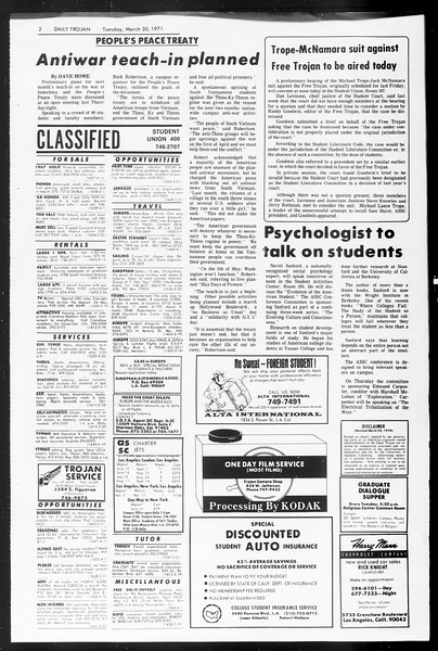 Daily Trojan, Vol. 62, No. 99, March 30, 1971