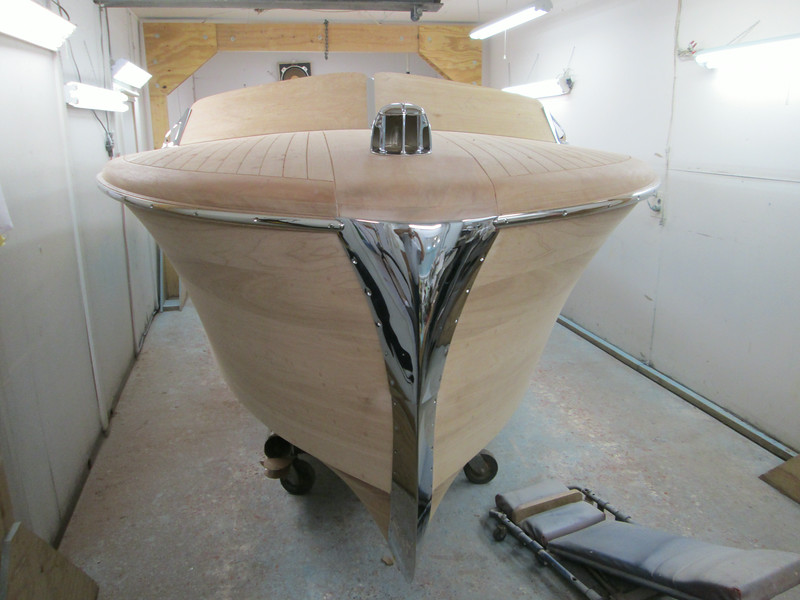 Bow view of the cut water fit and mounted.