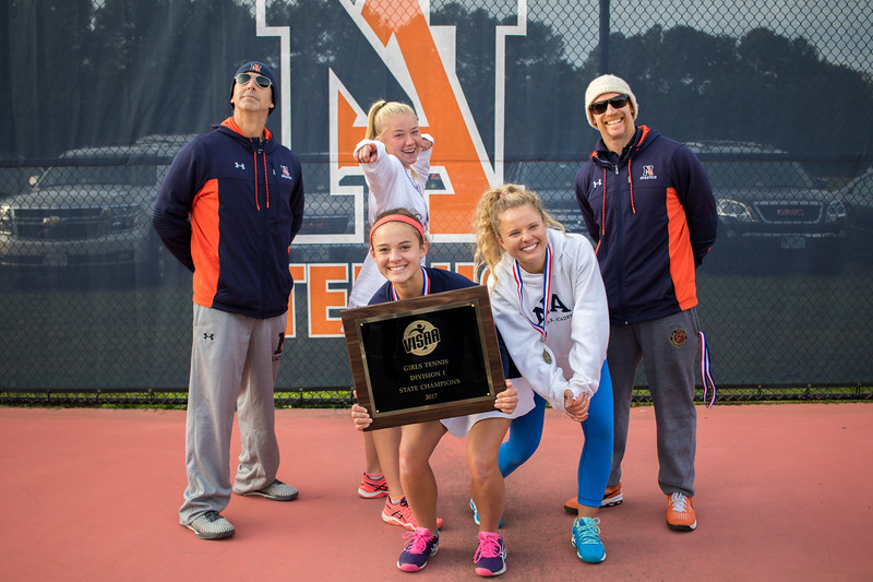 Seniors Caitie Sullivan, Jane Carter Chandler, and Anna Mirovski with Coach Acra and Duquette