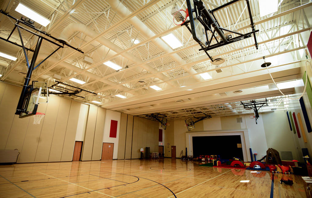 . The gym at Wildwood. Shared areas, like art classes, the gym and the media center, are centrally located. Specialty classrooms, like one for English language learners, are bigger than the previous building could accommodate.(Pioneer Press: Ben Garvin)