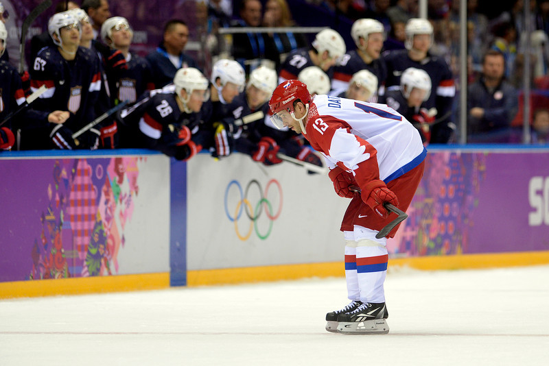 . Pavel Datsyuk (13) of the Russia reacts to missing a shot in the shootout against Jonathan Quick (32) of the U.S.A. during  the U.S.A.\'s shootout-win at Bolshoy arena. Sochi 2014 Winter Olympics on Saturday, February 15, 2014. (Photo by AAron Ontiveroz/The Denver Post)