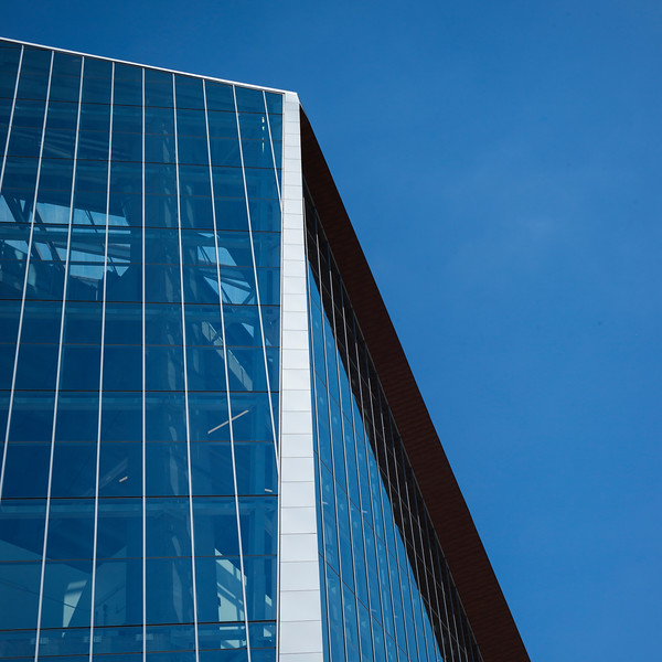 Low angle view of side glass wall of the U.S. Bank Stadium, Minneapolis, Hennepin County, Minnesota, USA