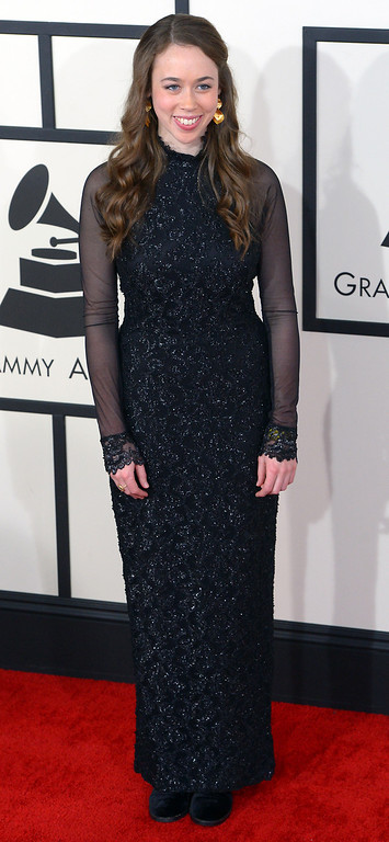 . Sarah Jarosz arrives at the 56th Annual GRAMMY Awards at Staples Center in Los Angeles, California on Sunday January 26, 2014 (Photo by David Crane / Los Angeles Daily News)