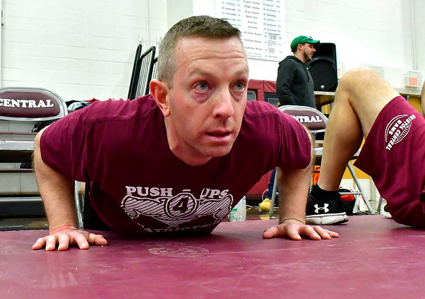 3/8/2019 Mike Orazzi | Staff Ryan Broderick during Push Up for Patriots at Bristol Central High School Friday afternoon.