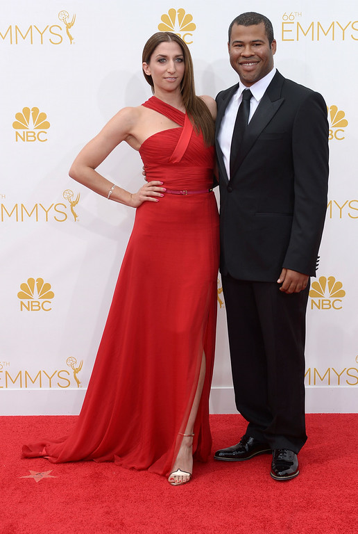 . Chelsea Peretti and Jordan Peele on the red carpet at the 66th Primetime Emmy Awards show at the Nokia Theatre in Los Angeles, California on Monday August 25, 2014. (Photo by John McCoy / Los Angeles Daily News)