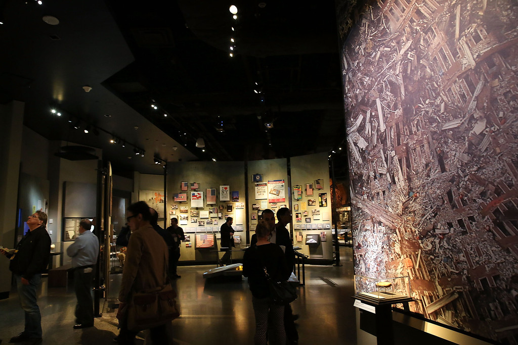 . Artifacts from Ground Zero, including the cross made out of steel from the buildings, is viewed during a preview of the National September 11 Memorial Museum on May 14, 2014 in New York City.  (Photo by Spencer Platt/Getty Images)