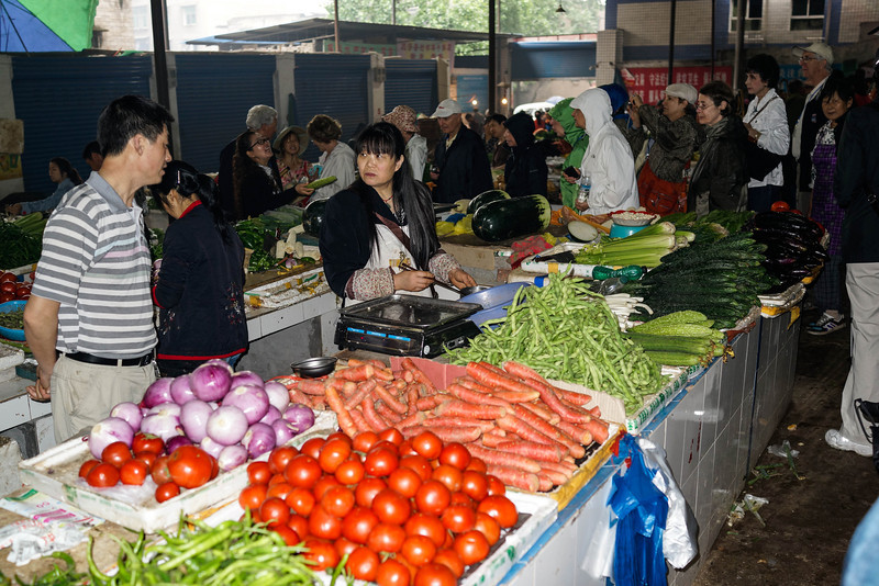 Fengdu - Fresh vegetables in local food market.