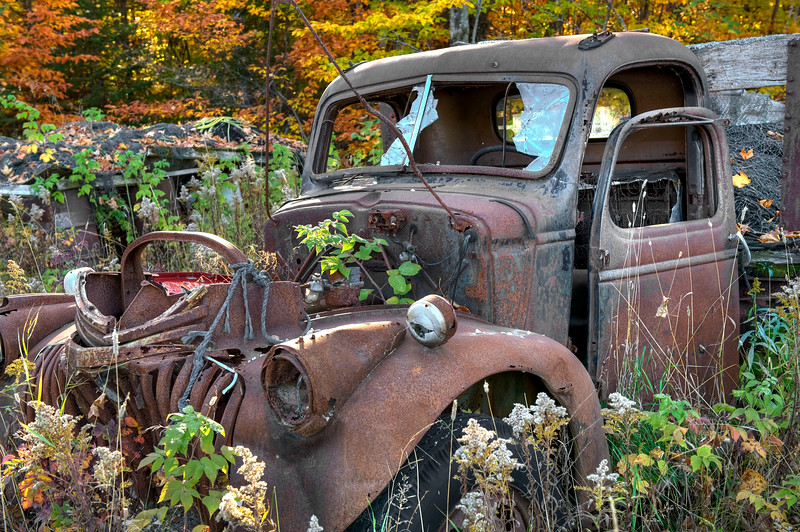 1941-46 Wartime Chevy Flatbed Truck abandoned in a field. - October, 2008
