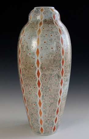 """Diamond Stripes  & Dots Vase 15.5""""x6.5""""x6.5"""" - Porcelain with Slip Decoration Wood-fired Cone 10"""