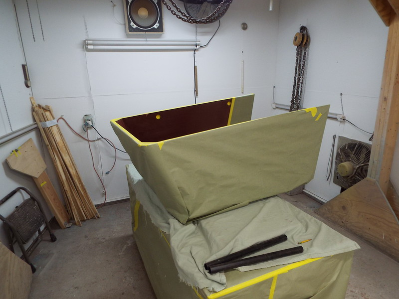 Engine box masked off to spray new insulation inside.