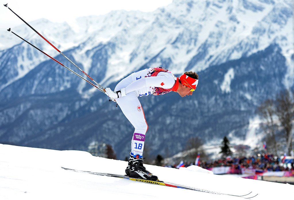 . SOCHI, RUSSIA - FEBRUARY 09:  Ivan Babikov of Canada competes in the Men\'s Skiathlon 15 km Classic + 15 km Free during day two of the Sochi 2014 Winter Olympics at Laura Cross-country Ski & Biathlon Center on February 9, 2014 in Sochi, Russia.  (Photo by Harry How/Getty Images)