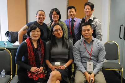 """Anh Dao Kolbe, Jenna Cho-Ness, Min Matson, Pauline Park, Andy Marra and moderator Peter Savasta are the discussion panel for """"Emerging Outwards: LGBTQQ Adoptee Narratives""""."""