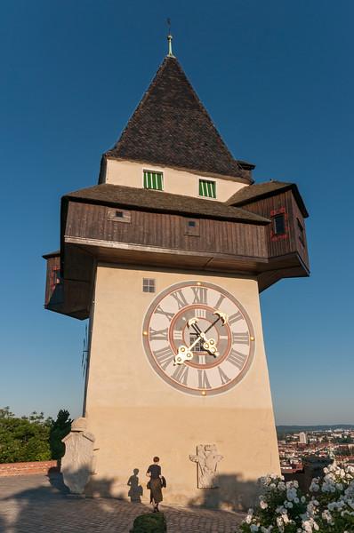Uhrturm (Clock Tower) on Grazer Schlossberg Hill in Graz, Styria, Austria