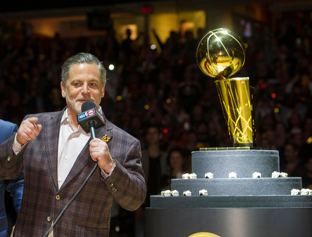 . Cleveland Cavaliers owner Dan Gilbert speaks before handing out NBA championship rings to the team before a basketball game against the New York Knicks in Cleveland, Tuesday, Oct. 25, 2016. (AP Photo/Phil Long)