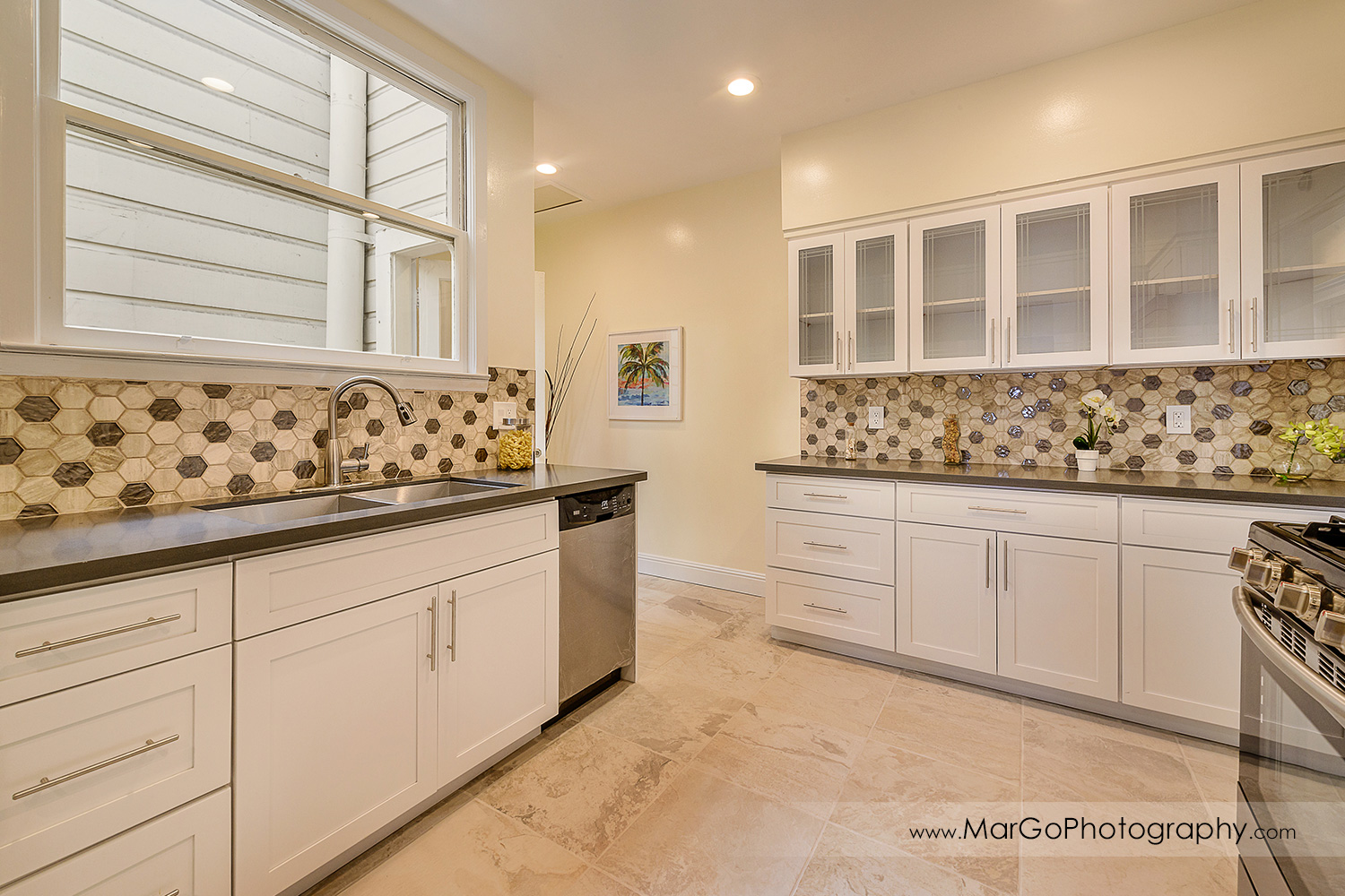 San Francisco house kitchen with white cabinets - real estate photography
