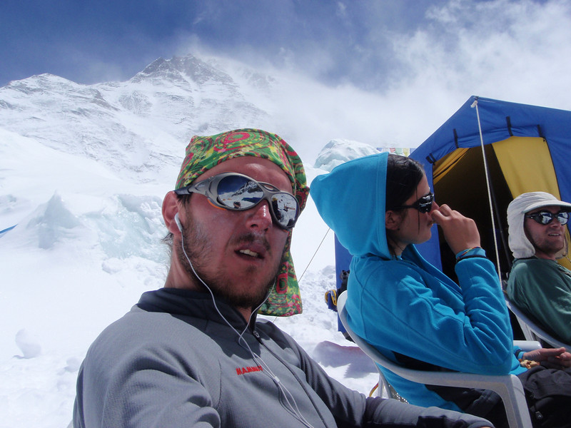 Wind was strong again next day ... The view from ABC towards the Everest summit
