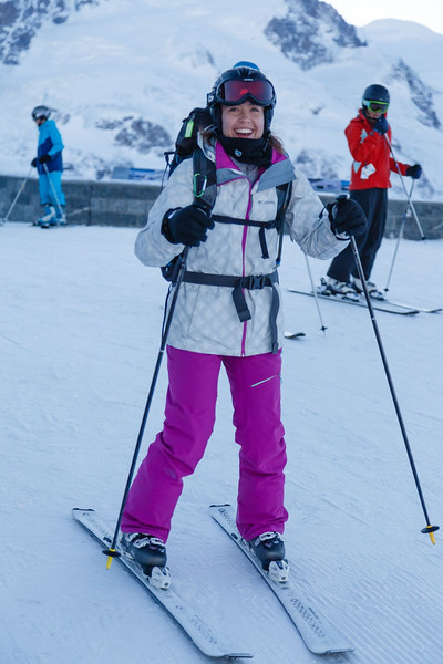 Ms. Mazur getting ready to ski from Gornergrat
