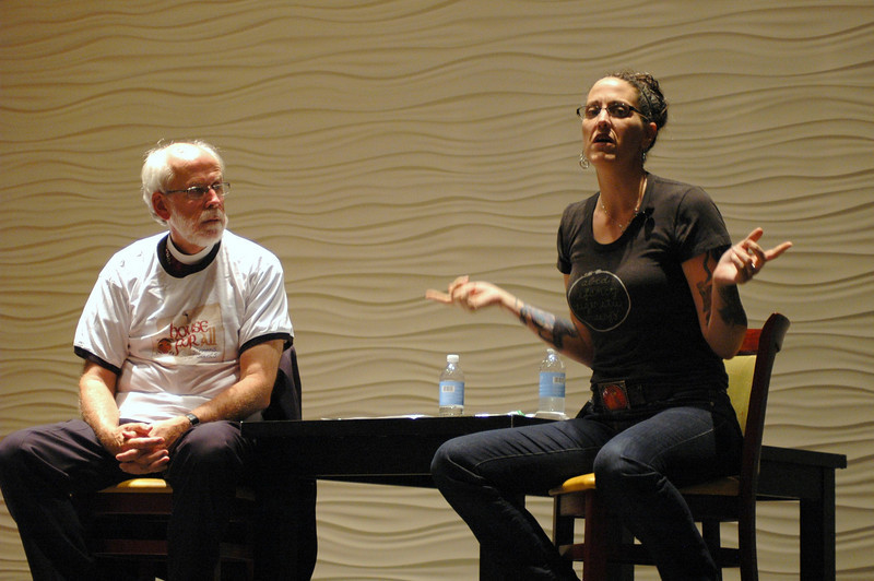 Presiding Bishop Mark S. Hanson and the Rev. Nadia Bolz-Weber during plenary session one
