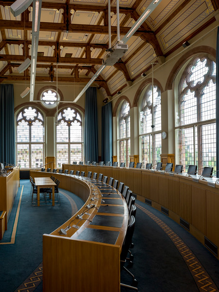 Interiors of government building, Guildhall, Londonderry, Northern Ireland, United Kingdom