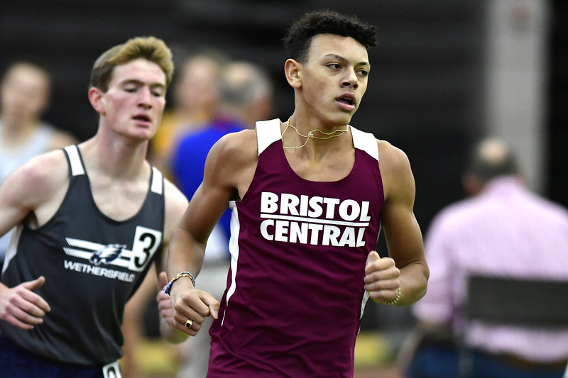 2/1/2020 Mike Orazzi | Staff Bristol Central's Francis Porrini III in the boys 1600 Meter Run during the CCC Indoor Track & Field Championships at the Floyd Little Athletic Center in New Haven on Saturday.