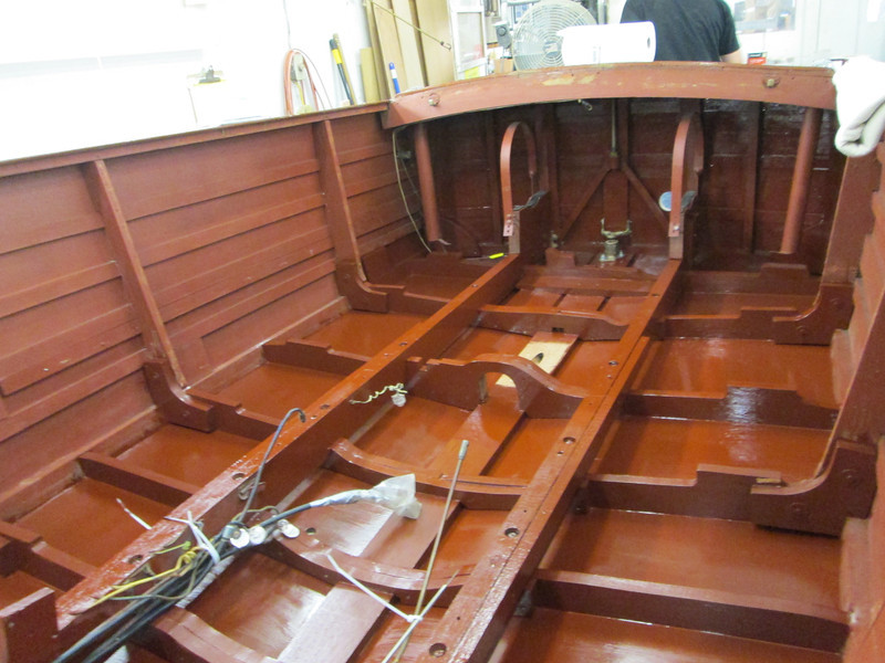 View looking toward the transom of the bilge painted.