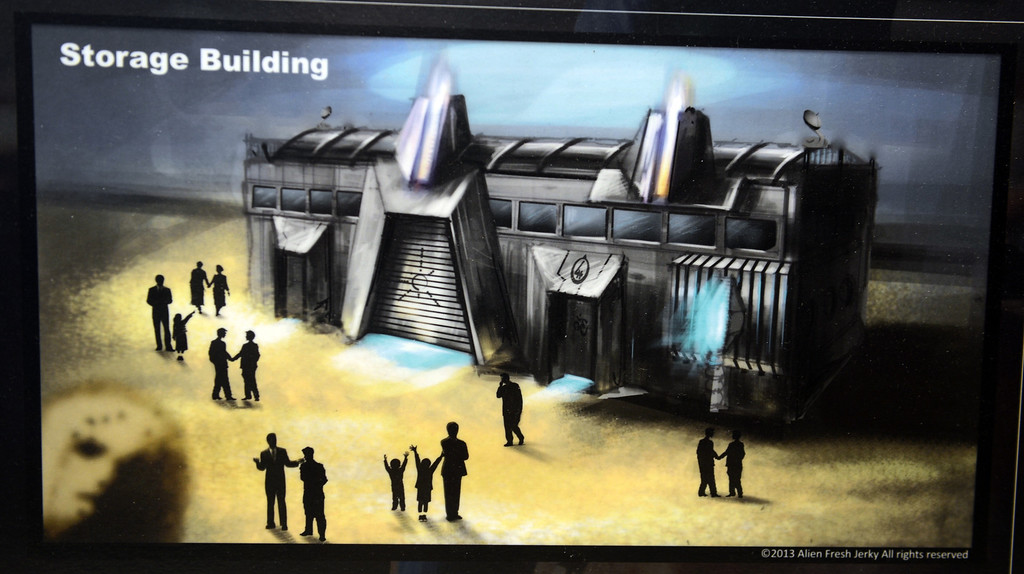 . Artist rendering of the storage building to be built at Alien Fresh Jerky in Baker, CA, Thursday, April 3, 2014. The owner is planning to build a UFO shaped hotel behind the popular Alien Fresh Jerky store. (Photo by Jennifer Cappuccio Maher/Inland Valley Daily Bulletin)