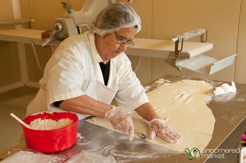 Cutting Dough for Sarikopitakia - Crete, Greece
