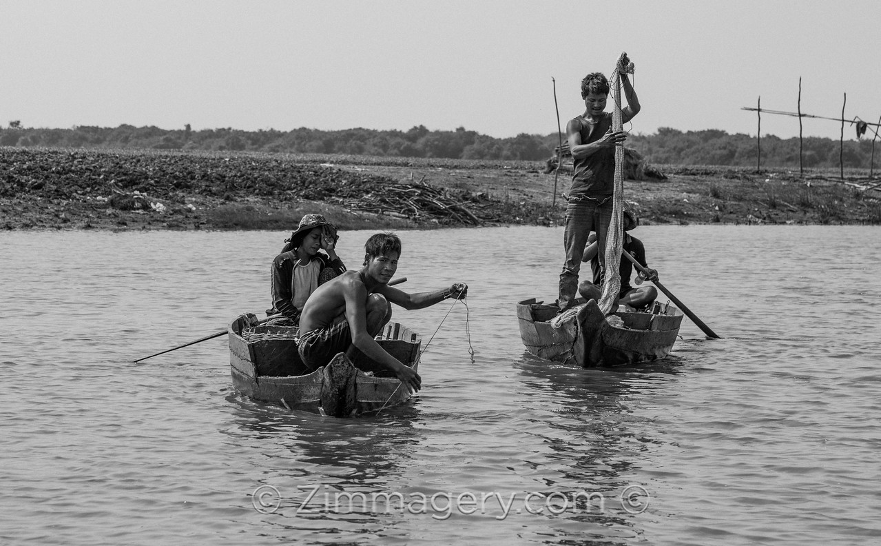 Fishermen Casting, Floating City, Cambodia