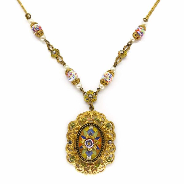Vintage Art Deco Czech Gold Tone Millefiori Enamelled Pendant Necklace