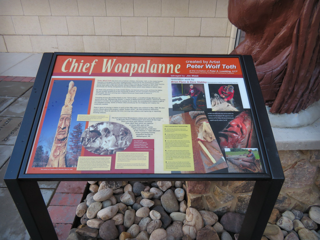 Sign commemorating Chief Woapalanne Whispering Giant in Williamsport, PA