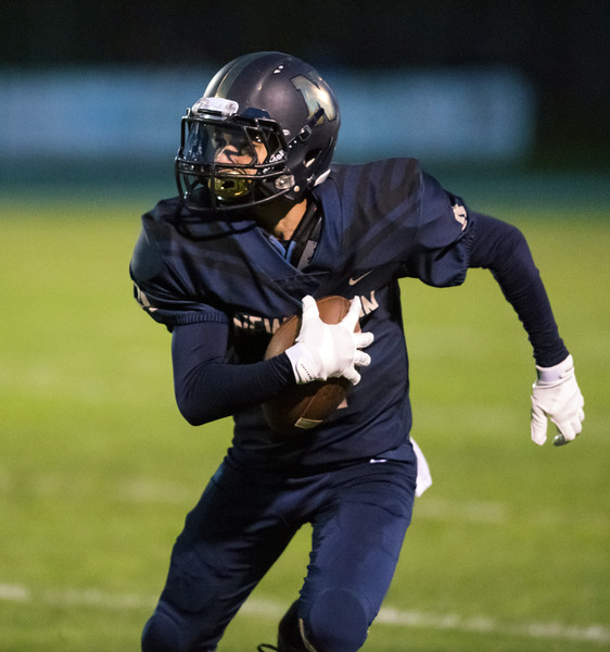 10/12/18  Wesley Bunnell   Staff  Newington football defeated Bristol Eastern 25-7 at home on Friday night. Newington's Izayah Ciarcia (4) with a carry.