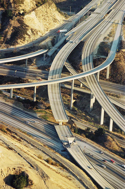 . The intersection of the Golden State and the Antelope Valley freeways in Newhall Pass.   Los Angeles Daily News file photos
