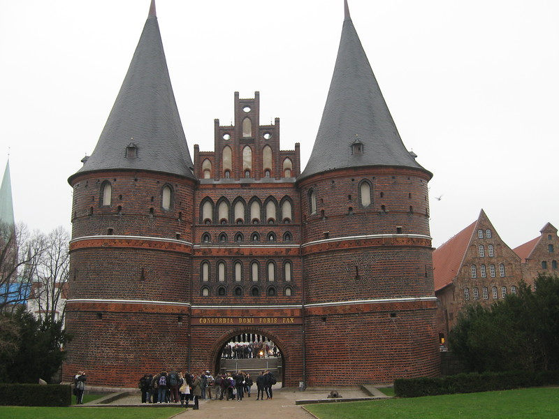 castle with two large domed spires