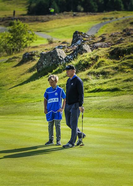 Veigar Heiðarsson og Frans Páll Sigurðsson.  Íslandsmót í golfi 2019 - Grafarholt 2. keppnisdagur Mynd: seth@golf.is