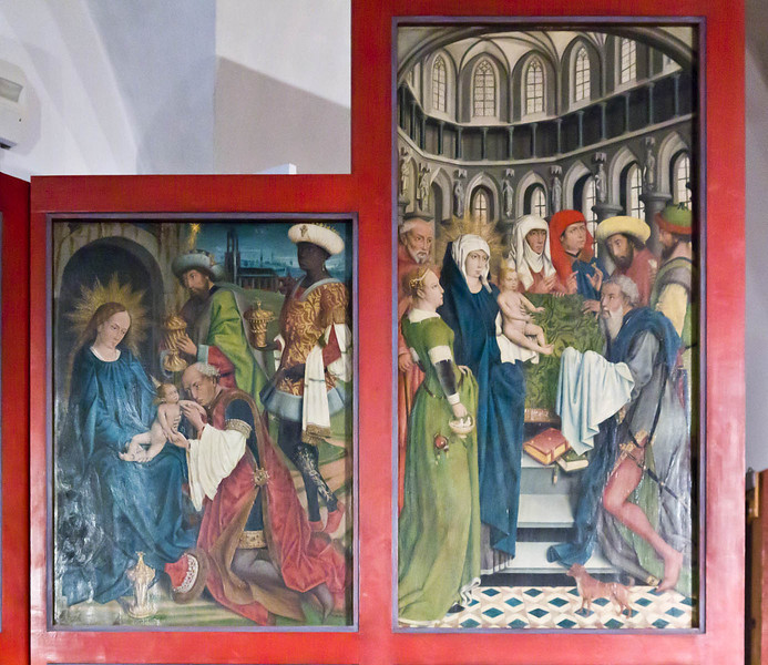 Nördlingen. Stadtmuseum. Hochaltar, re. Flügel: Anbetung und Darbringung