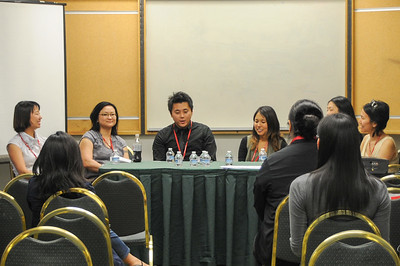 "The open and friendly discussion on ""Locating Adoptee Scholars Within Korean Adoption Studies"" led by Kimberly McKee with panelists Jennifer Kwon Dobbs, Nathan James Bae Kupel, Hollee McGinnis and Elizabeth Raleigh."