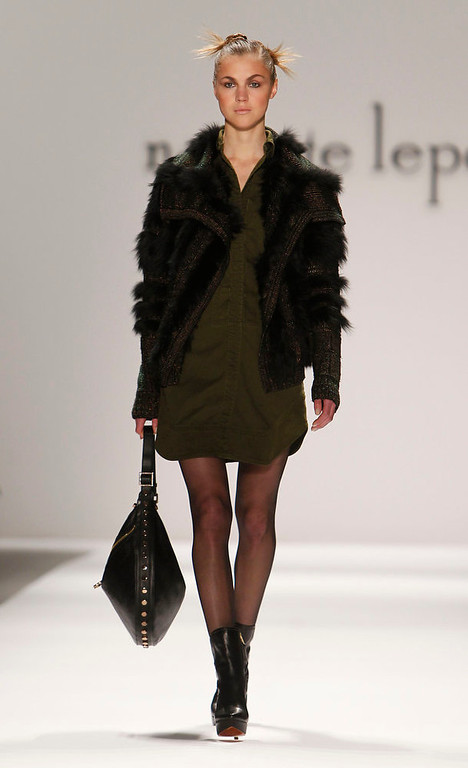 . The Nanette Lepore Fall 2013 collection is modeled during Fashion Week, Wednesday, Feb. 13, 2013 in New York. (AP Photo/Jason DeCrow)