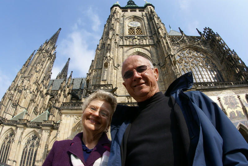 My parents in front of the Mai Cathedral in Prague