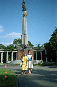 Martha and the wife of my Austrian Rep.  I've forgotten her name.  Note the statue on the tall pedestal to the rear of the ladies.  We asked our new Russian friend how come the soldier is shouldering a machine gun on the statue, and hugged his shoulders and simply said 'Stalin;!