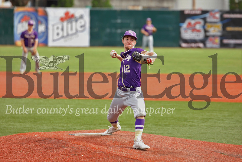 Karns City pitcher Steve O'Donnell  chalked up playoff win. The Gremlins topped Redbank 17-2 in 3 innings. Seb Foltz/Butler Eagle