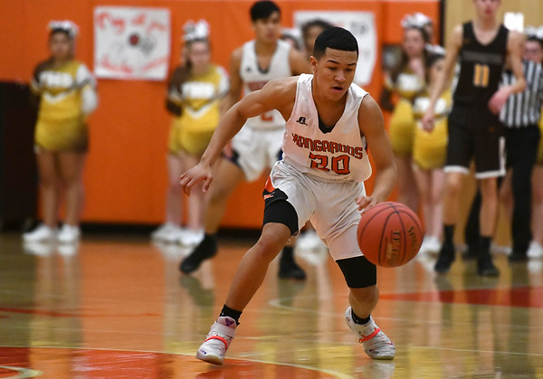 2/14/2020 Mike Orazzi | StaffrTerryville High School's Devonne Dao (20) during Friday evening's boys basketball game with Thomaston in Terryville.