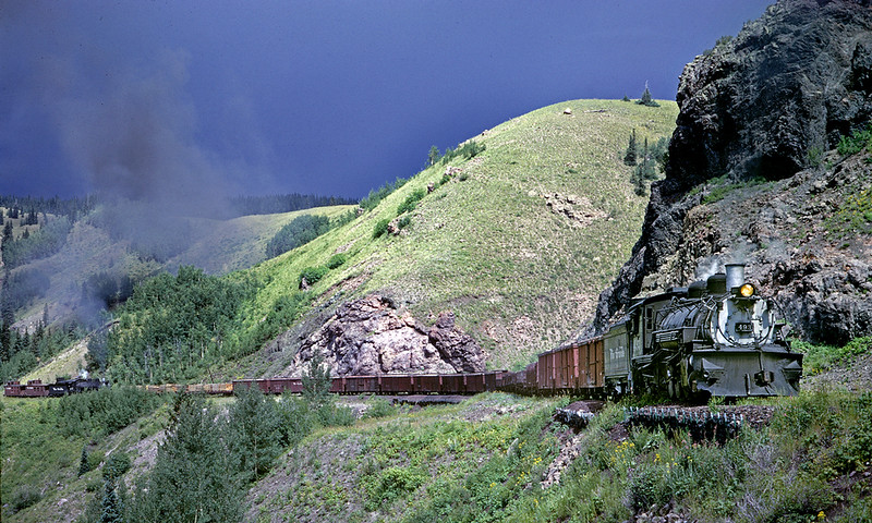 August 29, 1967.  Climbing Windy Point with a Trains magazine group in the second caboose.