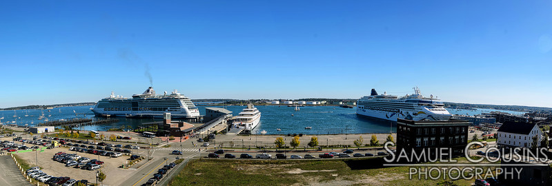 Three ships docked in Portland harbor, two at the Ocean Gateway and one at the Maine State Pier,